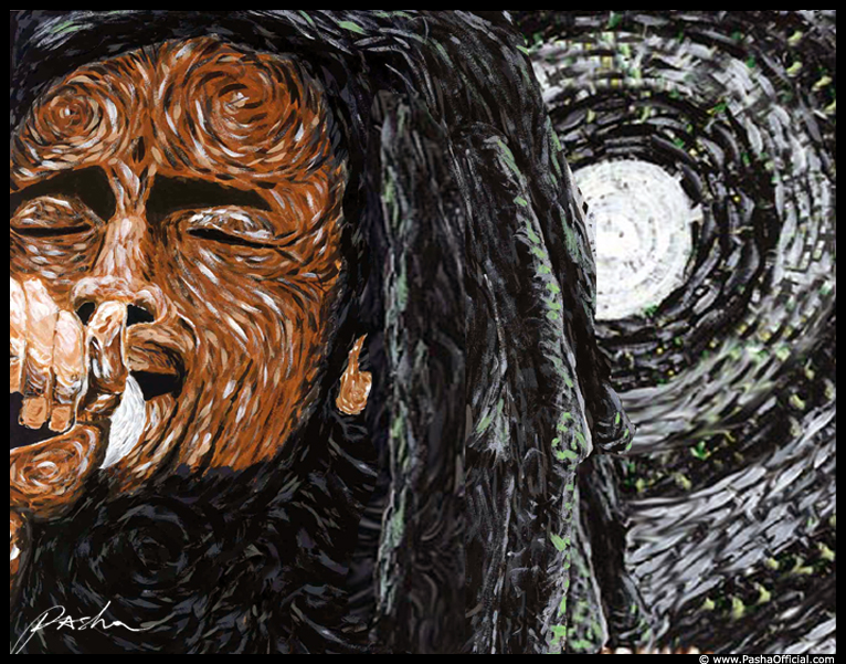 bob marley one love van gogh painting by Pasha
