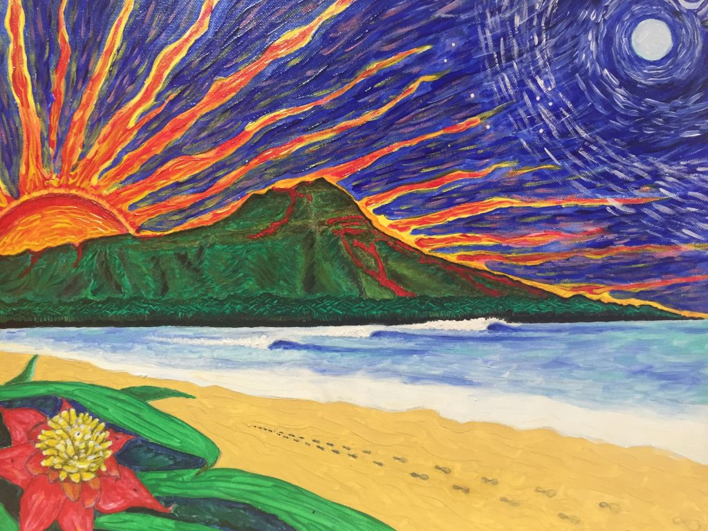 """Diamond Head Sunrise"" oil on canvas painting by Pasha. c. 2011 Private gallery"